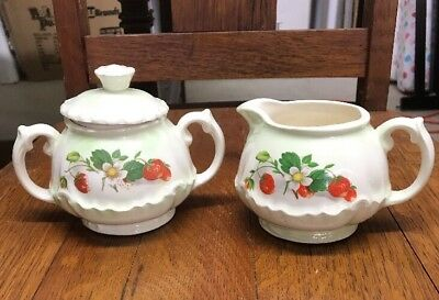 Vintage Cream & Sugar~Strawberry Pattern