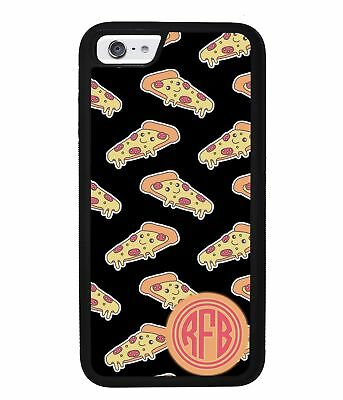 Smiley Face Pizza Monogram Phone Case for Apple iPhone Models