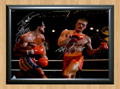 Rocky Sylvester Stallone Dolph Lundgren Signed Autographed A4 Photo Memorabilia