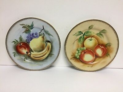 2 Vintage Norleans Japan Hand Painted Wall Plates Signed Fruit 10""