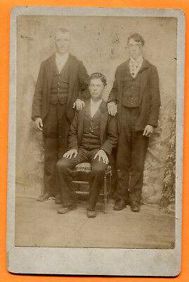 Portrait of 3 Young Men, circa 1890s Old Cabinet Card
