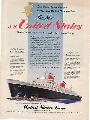 1952  S.S. United States Maiden Voyage Print Ad