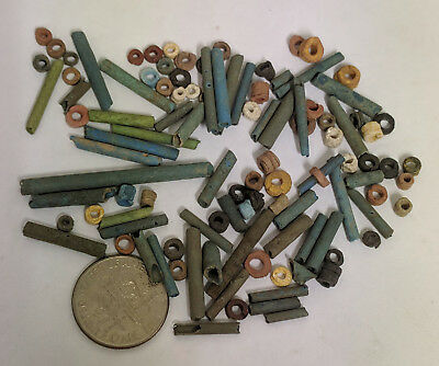 More than a Hundred 2500 Year old Ancient Egyptian Faience Mummy Beads (K1513)
