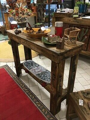 1 x Work bench hall table rustic wooden old recycled industrial timber vintage