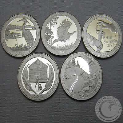 2015-S Bu National Parks Quarter Proofs Set Of 5 America The Beautiful