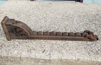 Large Old Antique Key Shaped Wood Corbel Architectural Salvage Farmhouse Arch