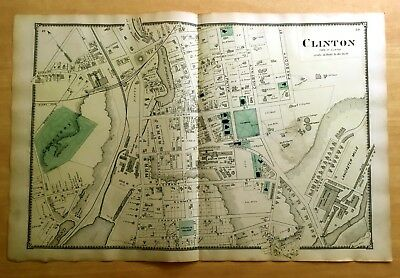 Original 1870 Map CLINTON, MA Massachusetts 2-Pg BEERS Antique VERY DETAILED