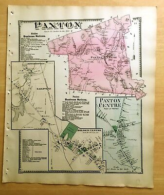 Original 1870 Map PAXTON Holden Centre EAGLEVILLE MA Massachusetts BEERS Antique