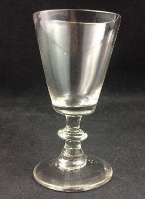 Antique Free Blown Flint Glass Georgian Wine Glass 18th or Early 19th Century