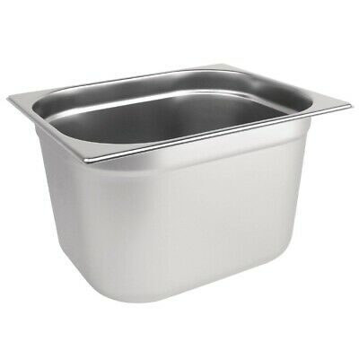 1/2 GASTRONORM 200mm DEEP BAIN MARIE STAINLESS FOOD CONTAINER GN PAN TRAY E0