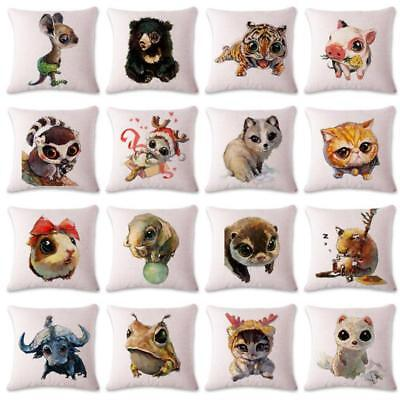 Kids Room Decoration Cushion Cover Cartoon Animal  Head Forest Pillow Case