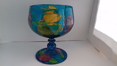 vintage stunning   decorative hand painted large  glass