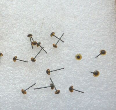 12 Pairs of 3mm Light Amber glass eyes Needle felting Dogs Cats Taxidermy Bears