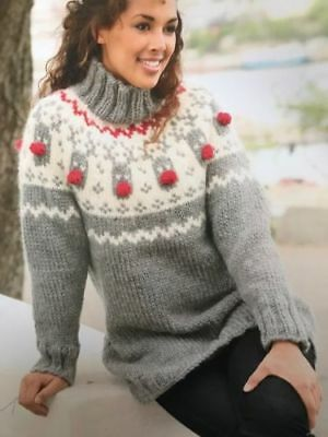 43lcf Knitting Pattern For Ladys Christmas Jumper 4 Sizes 149