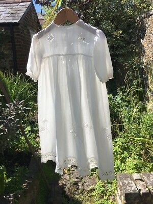 Edwardian Cut Out Daisy And Lace Christening Gown.
