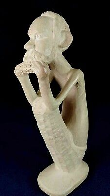 African Man Eating Corn Carved Stone Figurine