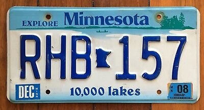 MINNESOTA - USA Embossed Number License plate # RHB157 American