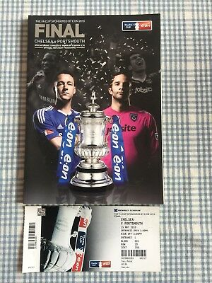 Chelsea Portsmouth FA Cup Final Football Programme & Ticket Rare Double Vintage