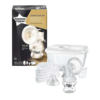 Tommee Tippee Manual Breast Pump Starter Kit With Steriliser Box Storage Bottle