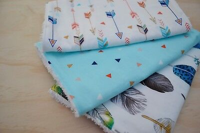 Baby Burp Cloth, Quality Toweling Back, Feathers Mix - set of 3