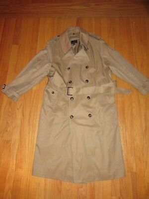 8B/brooks Brothers Mens Tan Wool/cashmere Lined Button Down Trench Coat/size 42S