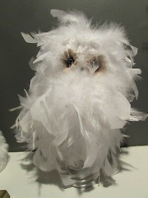 NEW Xmas Tree Topper Fluffy Feather WHITE OWL Holiday Jaclyn Smith Indoor Snow