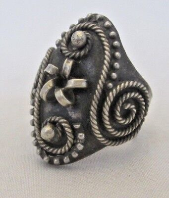 Vintage Silver Tone Ring from Tajikistan - Size 6.5