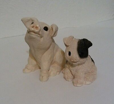 Stone Critters Pigs, Pig Baby White & Chubby Baby, Animal Figurines, Littles
