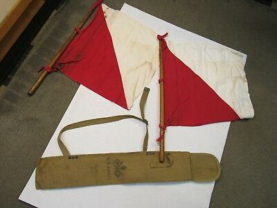 WW2 US Army Signal Corps Flag Kit 2 Flags & Case Damaged Grade C