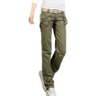 Women's Twill Military Pants Army Ladies Olive Green Cargo Trouser UK-10-M=EU-38