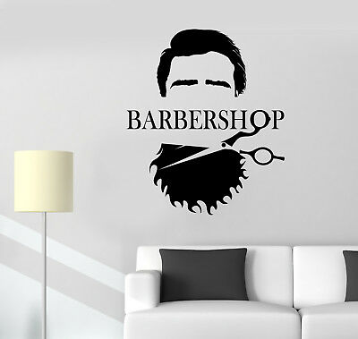 Vinyl Wall Decal Barbershop Beard Scissors Logo Hair Salon Stickers (3079ig)