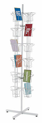 "Card Rack Studio Size Greeting Cards Rotating Spinning 48 Pocket White 5"" x 7"