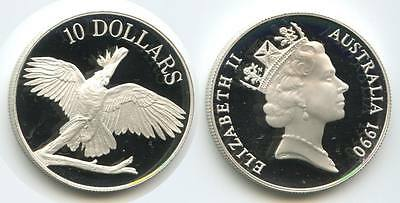 GS177 - Australien 10 Dollars 1990 KM#136 Sulpher-crested Cockatoo PP Silber