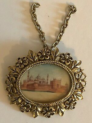 Antique Miniature Oval Watercolor Of Walled City - Gilded Brass Frame