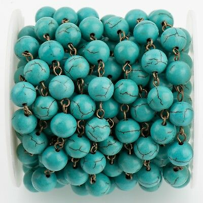 1 yard TURQUOISE BLUE Howlite Rosary Chain, bronze wire 10mm round fch0715a