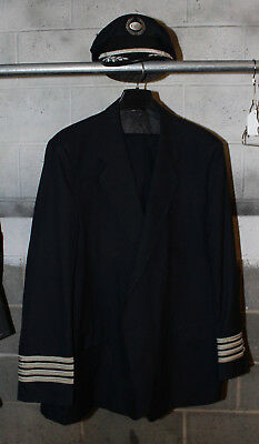 Vintage Obsolete US Air Pilot, Captains Uniform, Jacket 52L, Pants & Hat, Big!