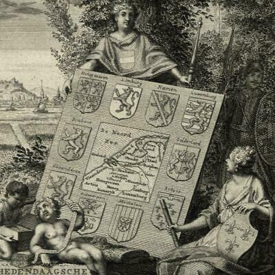 Frontis title page map Holland 1738 Tirion Philips print cherubs allegory