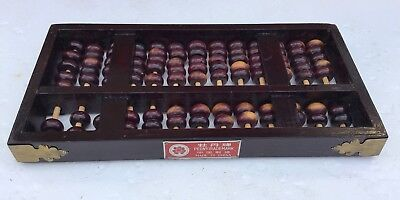 Abacus Wooden DARK WOOD Vintage Peony Trademark Made In China 91 BEADS