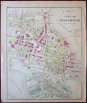 Portsmouth NH downtown Market Square 1892 Hurd detailed large old engraved map