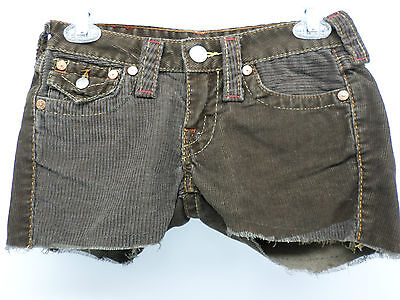 TRUE RELIGION 11 Brown Corduroy Cut-Off Shorts Fabric Brand Patch Size 26