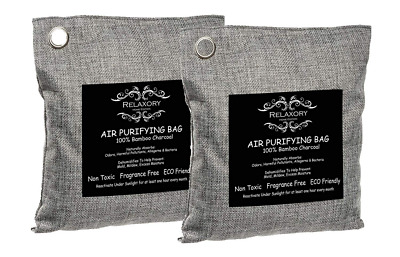 2 Pack Relaxory Activated Nano Bamboo Charcoal Bag Odor Absorber Air Purifying