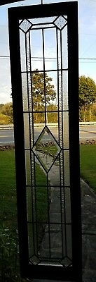 ANTIQUE LEADED GLASS SIDELIGHT TRANSOM WINDOW, from 1920s