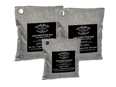 3 Pack Relaxory Activated Nano Bamboo Charcoal Bag 100% Natural Odor Absorber