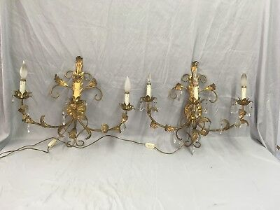 Vtg Lg Sconce Pair Gold Guild Leafy Tin Tole Lights Glass Prisms Italy 524-18E