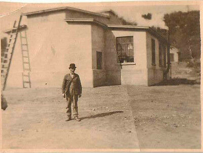 Antique Vintage Photograph Wonderful Man Wearing Cool Hat Standing By House