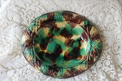 """Antique English Majolica EAT THEY BREAD Oval Plate Mottled Green Browns 13"""""""