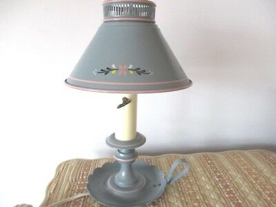 Vintage Wedgewood Blue & Pink French Country Cottage Tole Desk Reading Lamp