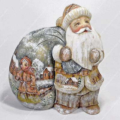 Old World Style Santa Claus Statue Christmas Russian Hand Carved Wooden Figure