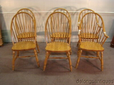 51066:Thomasville Set of 6 Solid Oak Bow-Back Windsor Chairs