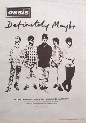 OASIS 1994 original POSTER ADVERT DEFINITELY MAYBE britpop CREATION RECORDS